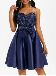 Lace Insert Sequined Cami Belted Party Dress -