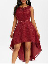 Lace V Back High Low Party Dress -