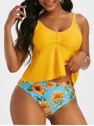 Sunflower Print Empire Waist Knotted Tankini Swimwear -