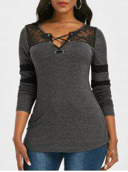 Striped Lace Panel Criss Cross V Neck T Shirt -