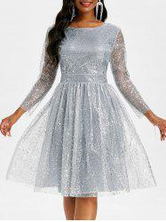 Sparkly Sequined Mesh Overlay Open Back Ball Gown Dress -