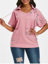 Letter Graphic Drawstring Front Pocket Top -