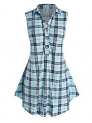 Plus Size Half Button Plaid Tank Top -