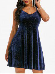 Sparkly Sequined Velour Criss Cross Cami Dress -