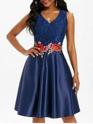 Floral Embroidered Applique Lace Panel Party Dress -