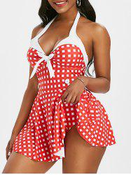 Halter Gingham Bowknot Backless Skirted One-piece Swimsuit -