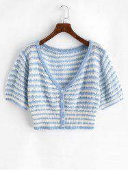 Plus Size V Neck Striped Button Up Cropped Cardigan -