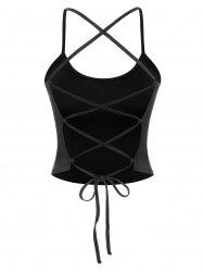 Lace Up Back Crop Cami Tank Top -