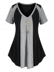 Plus Size Two Tone Buttons T Shirt -