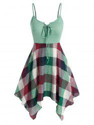 Plus Size Lace Up Checked Print Slip Dress -