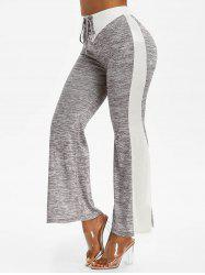 High Waisted Space Dye Print Lace-up Flare Pants -