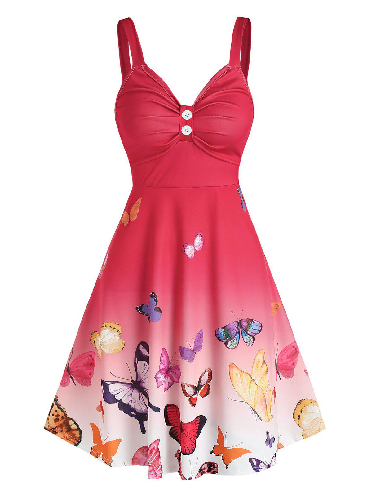 Unique Ombre Color Butterfly Print Ruched Dress