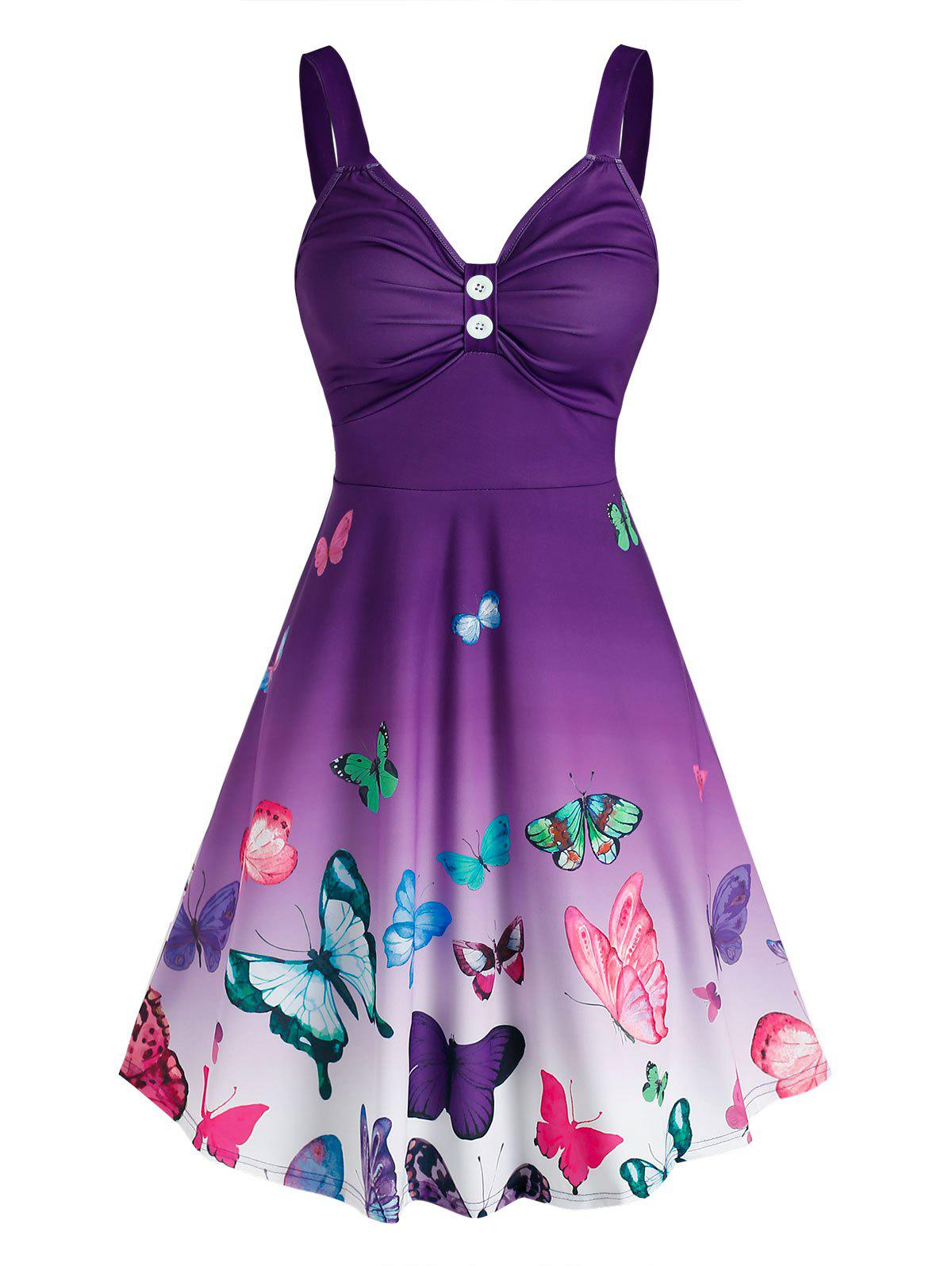 Sale Ombre Color Butterfly Print Ruched Dress