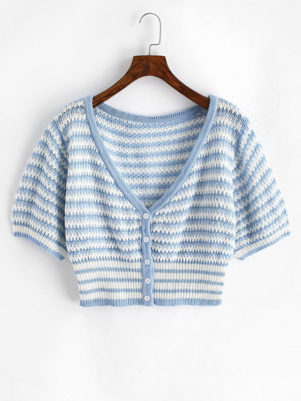 Best Plus Size V Neck Striped Button Up Cropped Cardigan