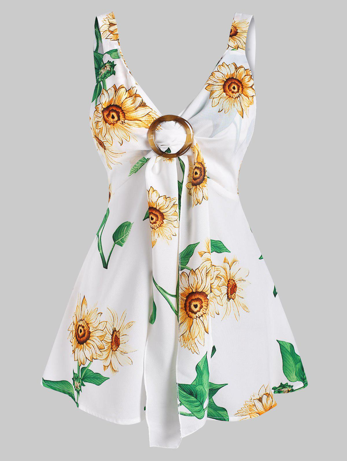 Cheap Sunflower Print Tied O Ring Tank Top