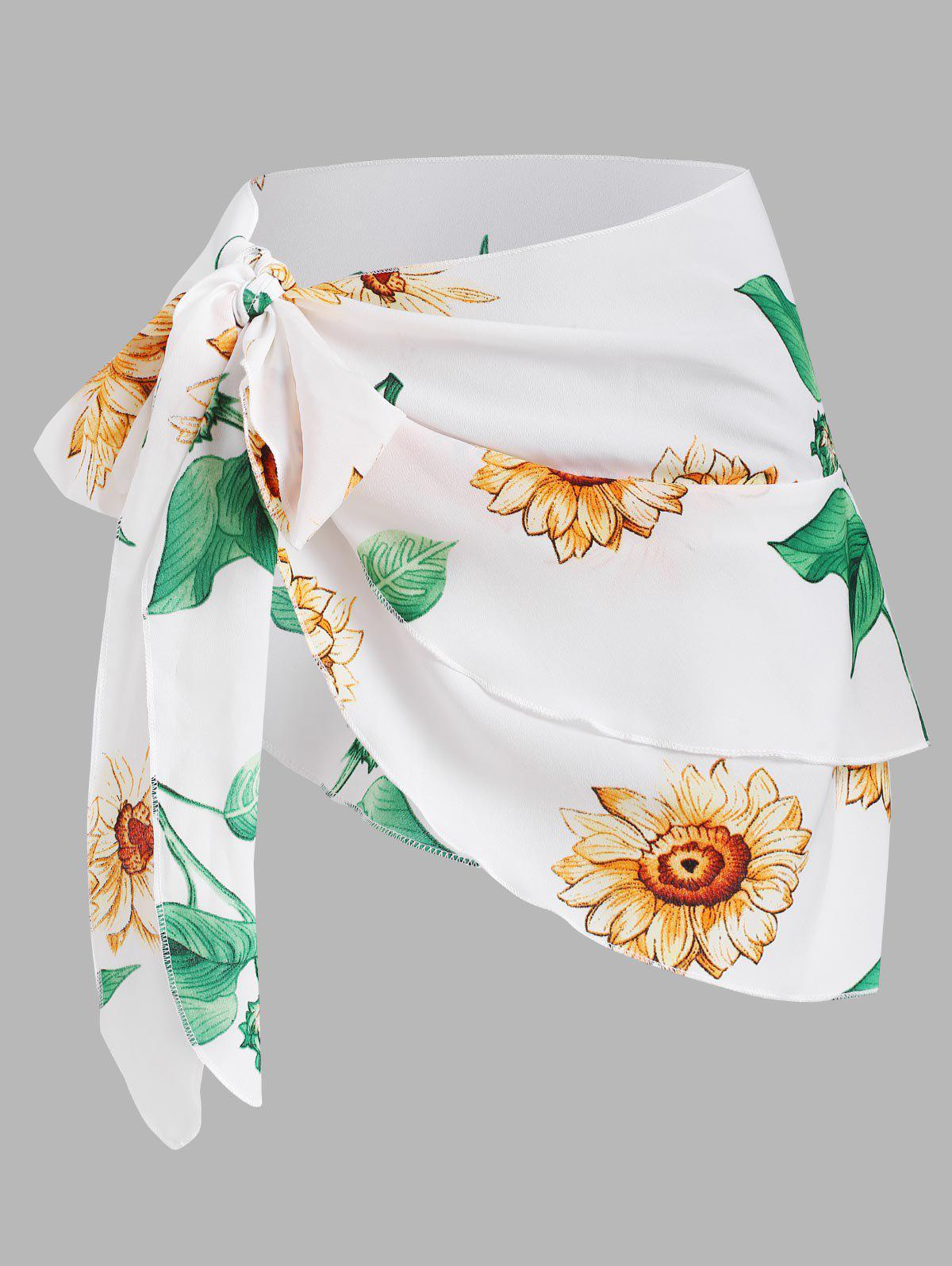 Best Multiway Tied Sunflower Layered Cover Up