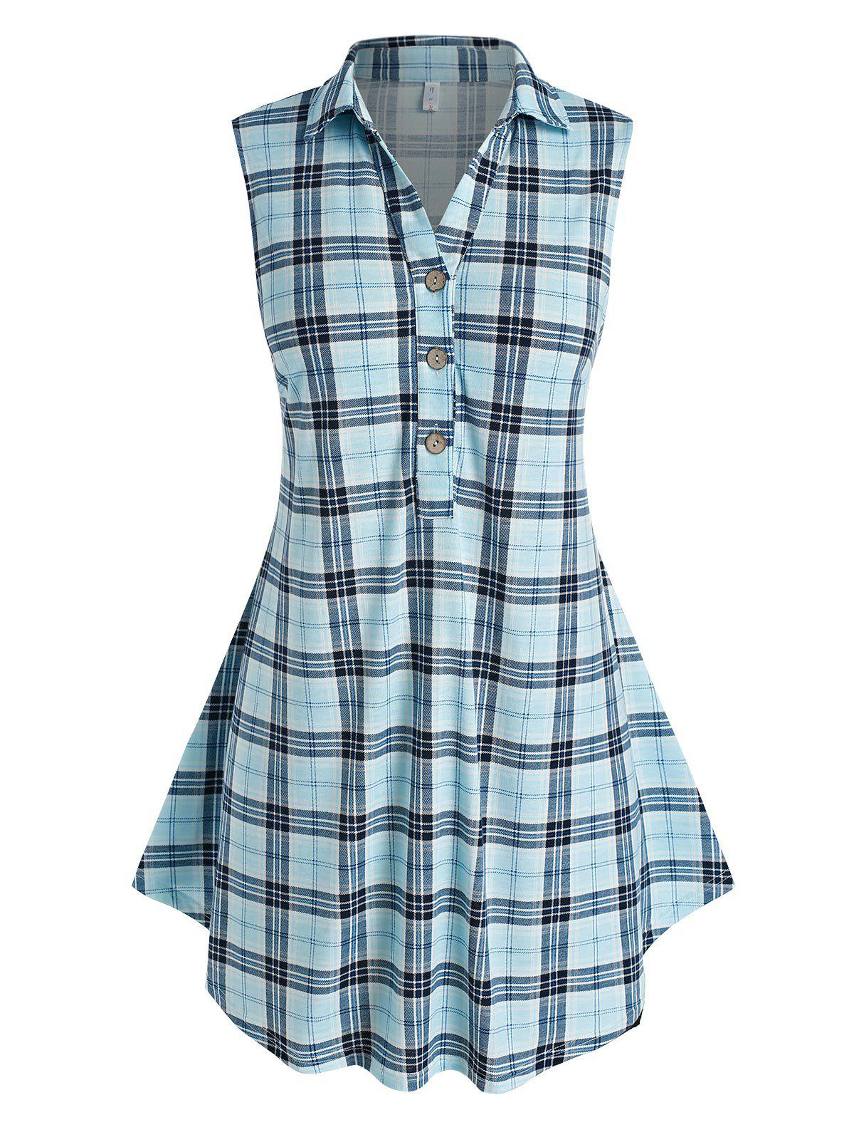 Fashion Plus Size Half Button Plaid Tank Top