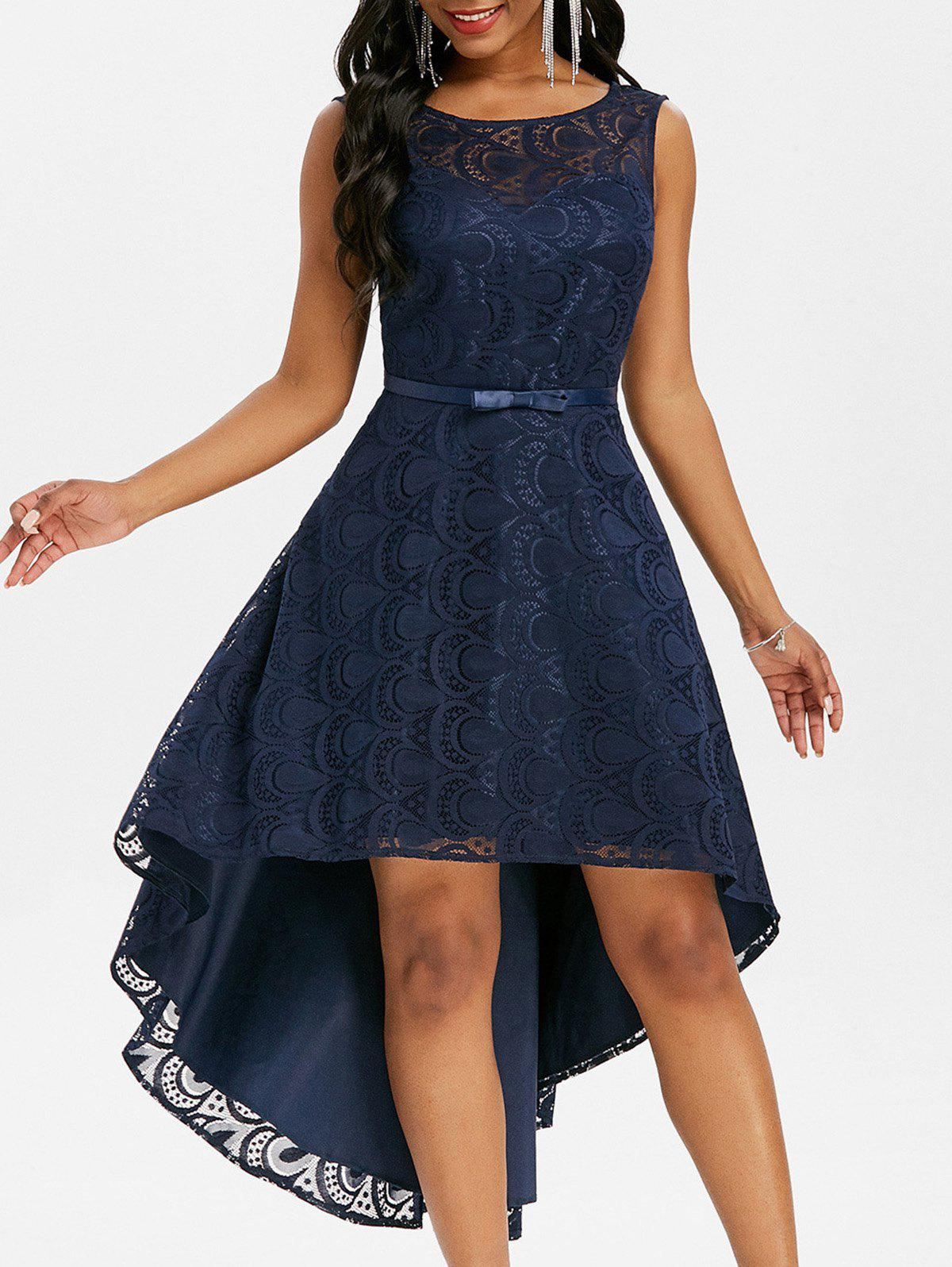 Discount Lace V Back High Low Party Dress