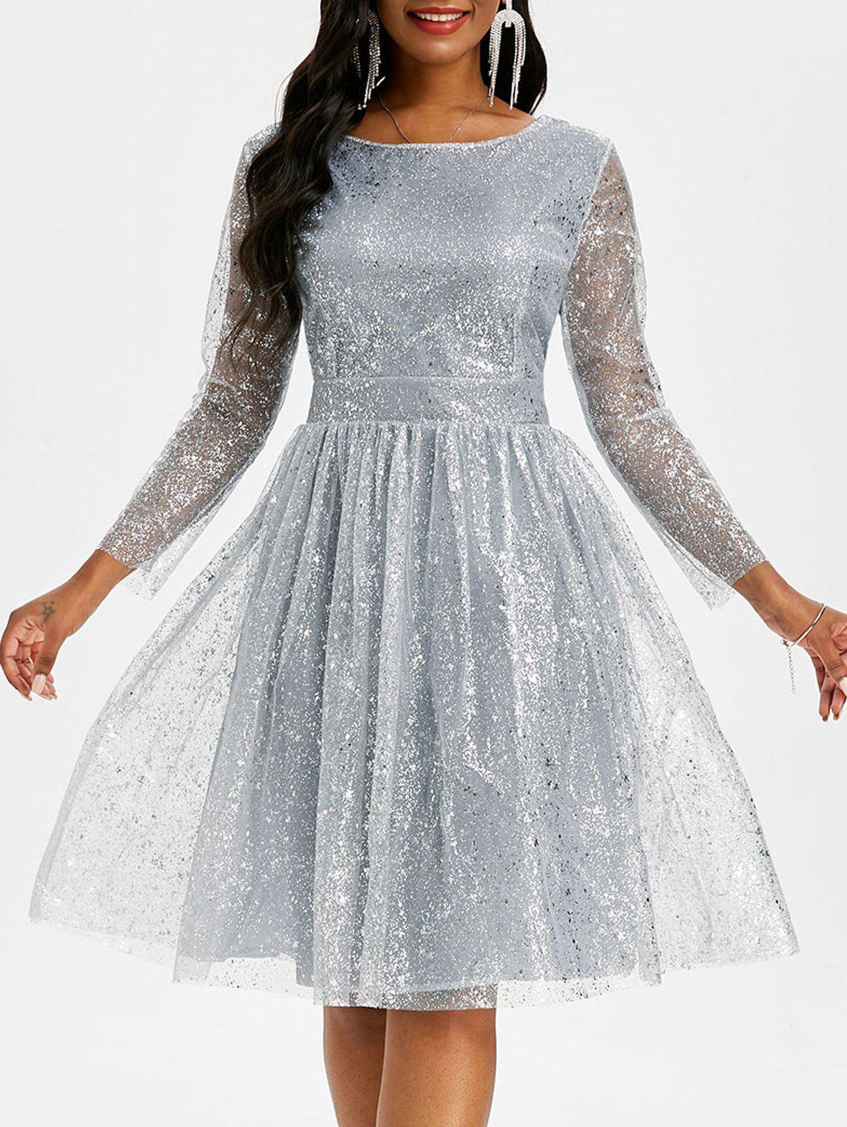 Shop Sparkly Sequined Mesh Overlay Open Back Ball Gown Dress