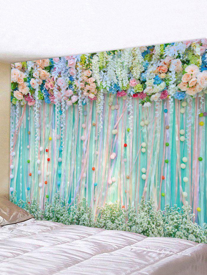 Flowers Ribbon 3D Print Waterproof Wall Tapestry