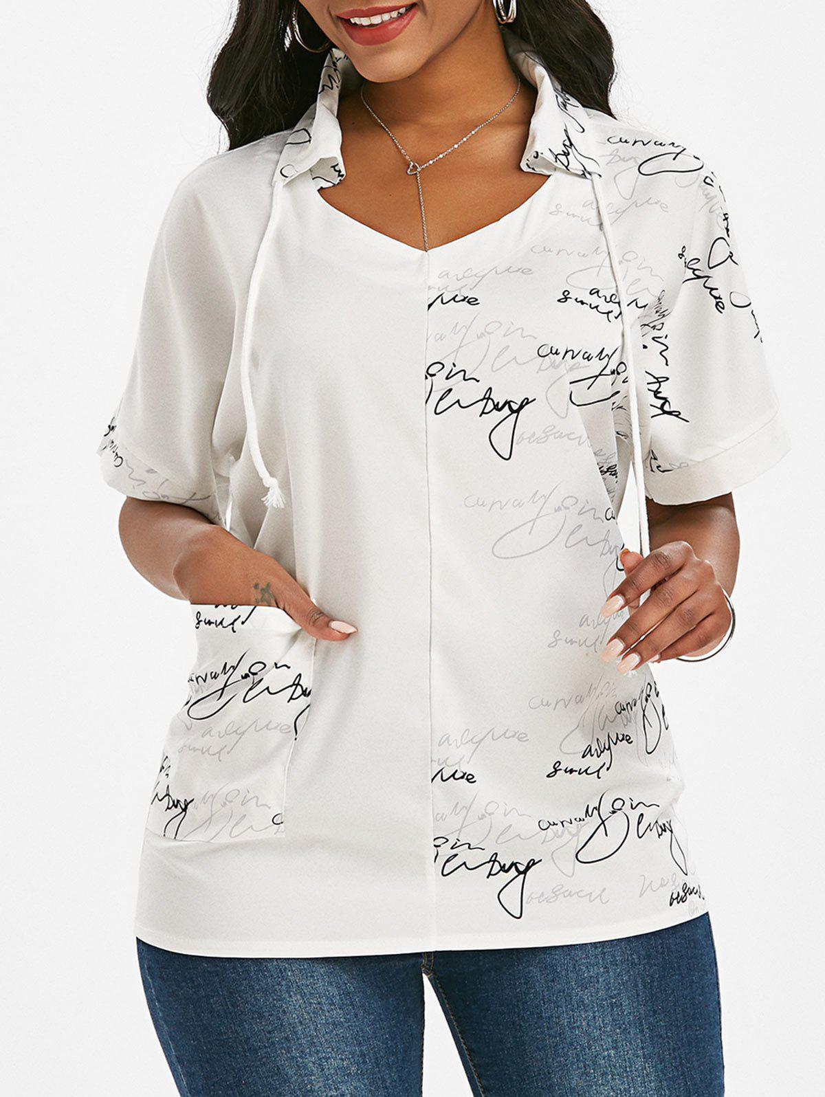 Outfits Letter Graphic Drawstring Front Pocket Top