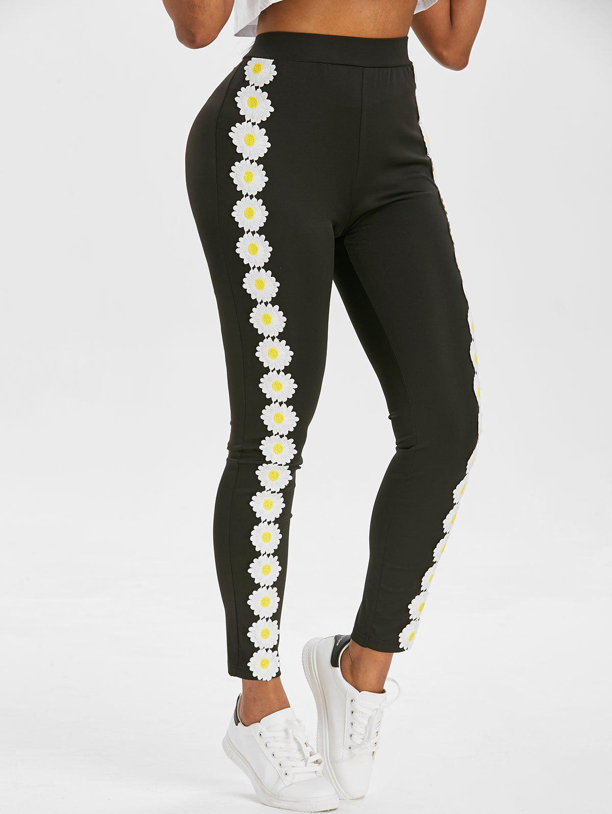 Online High Waisted Daisy Lace Panel Skinny Pants
