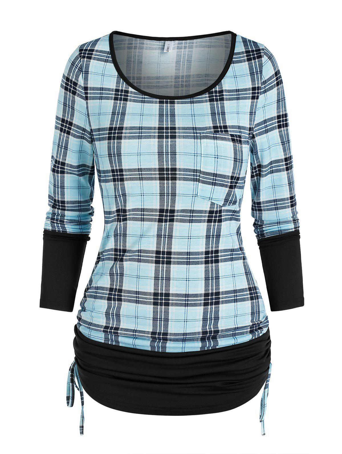 Store Ruched Plaid Cinched T Shirt
