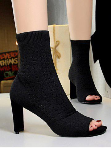 Knit Hollow Out Peep Toe High Heel Boots - BLACK - EU 40