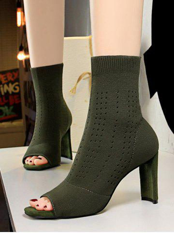 Knit Hollow Out Peep Toe High Heel Boots - GREEN - EU 40