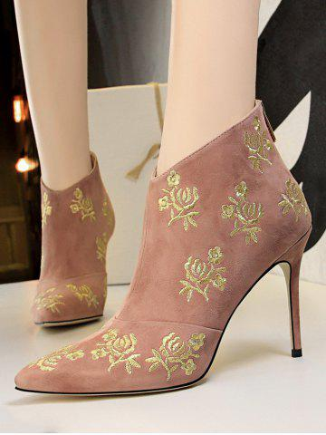 Retro Golden Flower Embroidered Suede Ankle Boots - PINK - EU 38