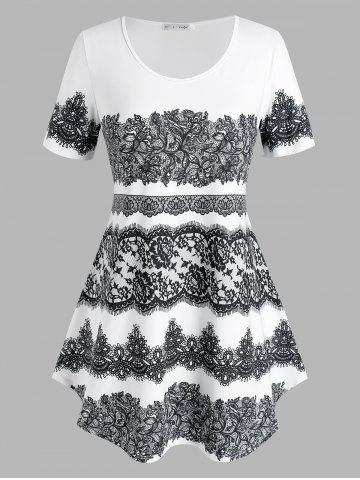 Plus Size 3D Lace Print Curved Tunic Tee - WHITE - L