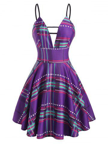 Plaid Plunge Front Ladder Cut Mini Dress - PURPLE - M