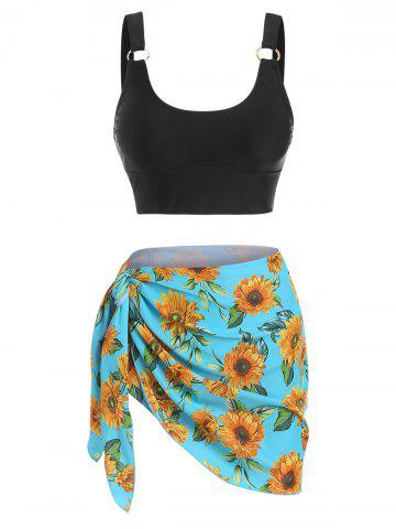 O Ring Sunflower Print Three Piece Tankini Swimwear