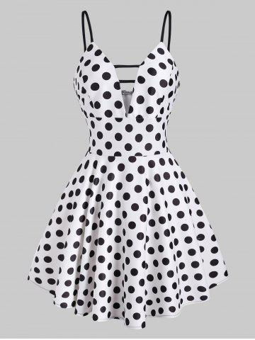Polka Dot Ladder Cut Plunge Front Mini Dress