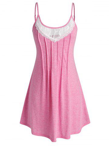 Plus Size Lace Panel Pleated Cami Nightdress