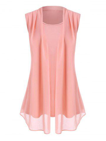 Plus Size Draped Chiffon Overlay Sleeveless Top