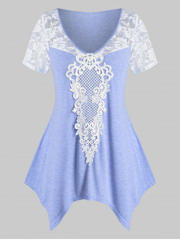 Plus Size Lace Insert Irregular T Shirt - LIGHT PURPLE - 2X