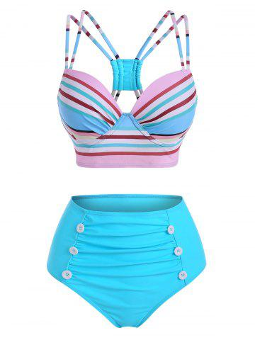 Colorful Striped Strappy Mock Button Ruched Bikini Swimwear - MULTI - XL