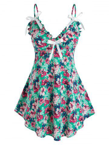 Plus Size Floral Frill Bowknot Cami Tank Top - GREEN - 4X