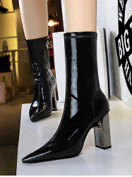 Patent Leather Metallic Chunky Heel Mid Calf Boots -