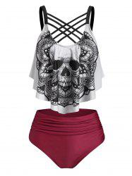 Skull Flower Print Criss-cross Padded Tankini Set -