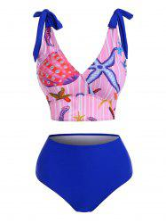 Marine Striped Tie Shoulder High Rise Tankini Swimwear -
