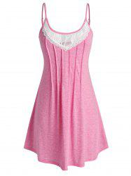 Plus Size Lace Panel Pleated Cami Nightdress -