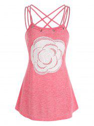 Flower Lace Panel Strappy Heathered Tank Top -