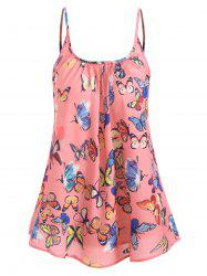 Spaghetti Strap Ruched Butterfly Print Top -
