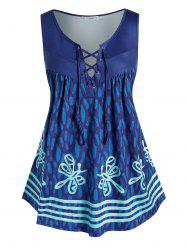 Plus Size Butterfly Print Lace Up Tent Tank Top -