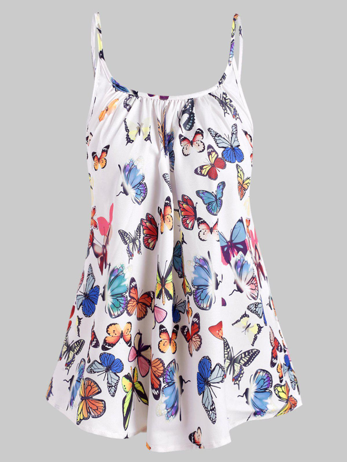 Cheap Spaghetti Strap Ruched Butterfly Print Top