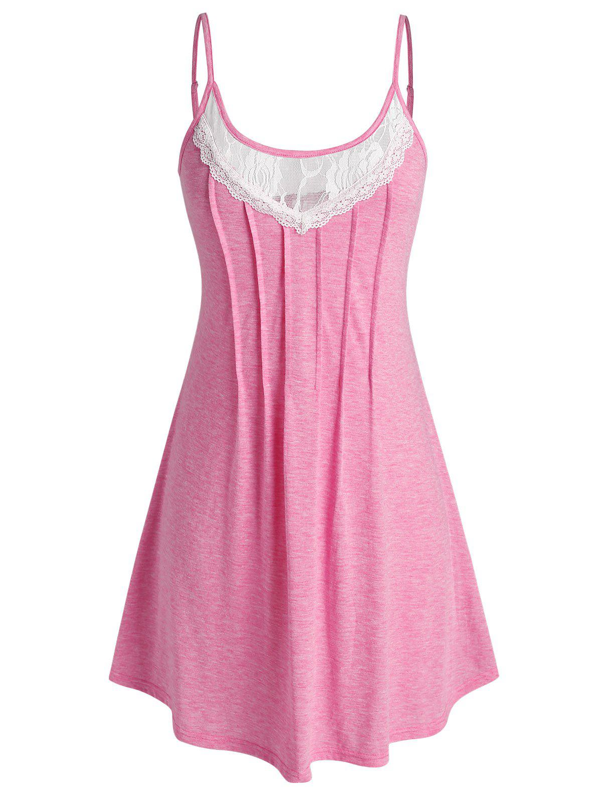 Fancy Plus Size Lace Panel Pleated Cami Nightdress