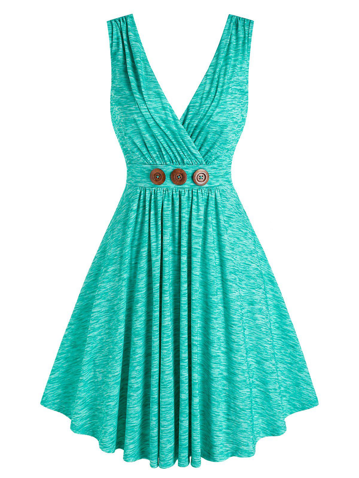 Outfit Button Pleated Surplice Dress