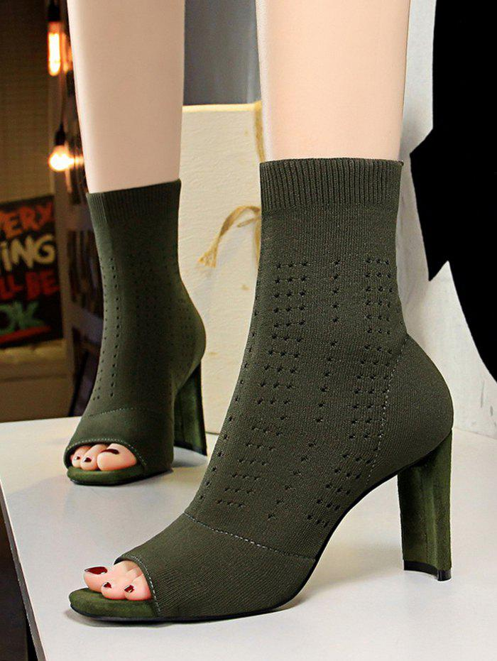 Chic Knit Hollow Out Peep Toe High Heel Boots